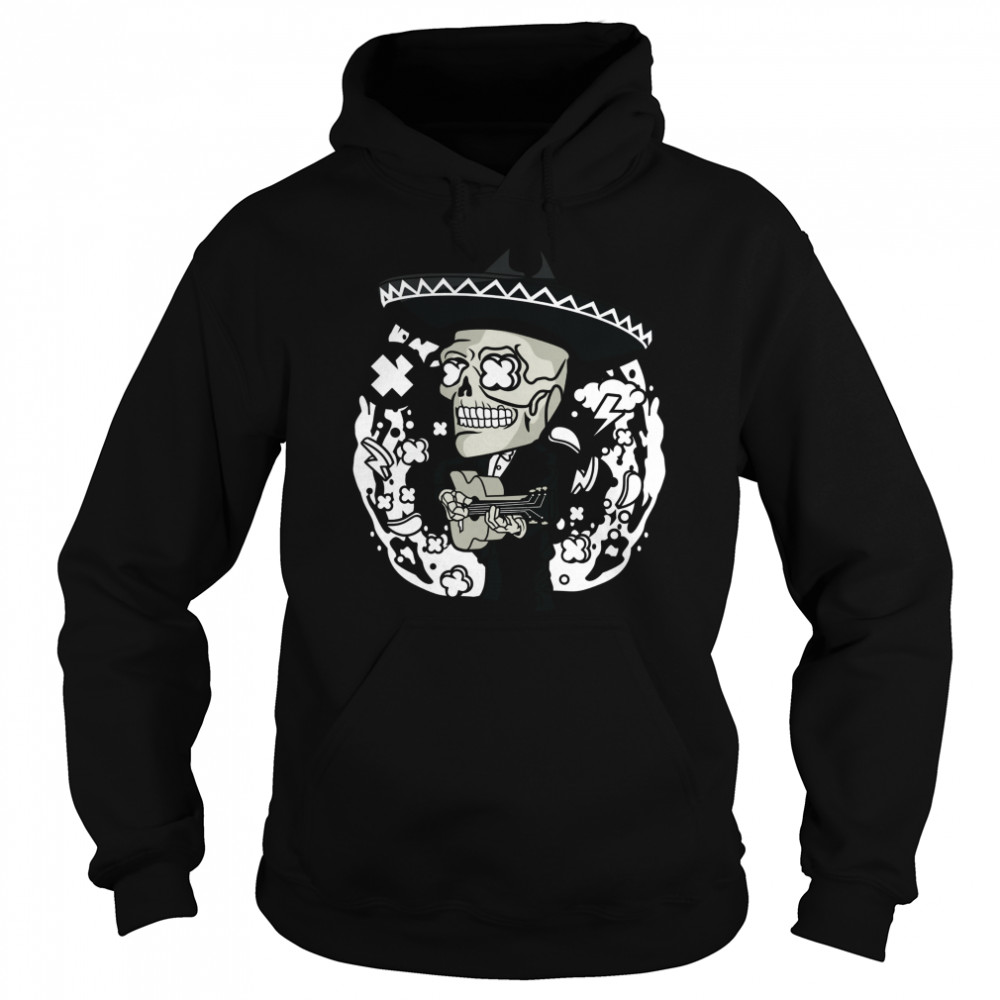 Gentlemen Skeleton Play Guitar Day Of The Dead In Mexican Holiday  Unisex Hoodie